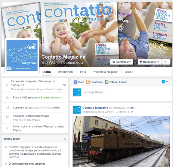 pagina facebook contatto magazine