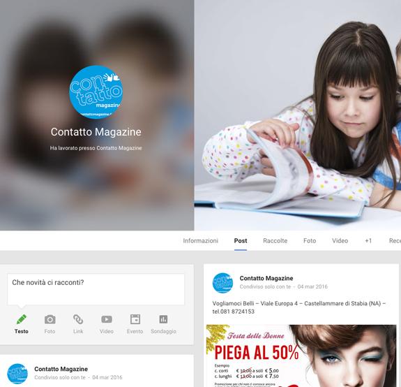 pagina googleplus contatto magazine