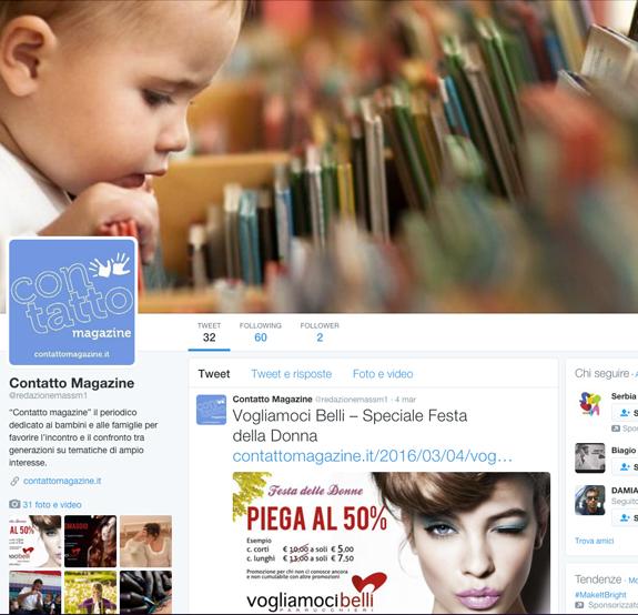 pagina twitter contatto magazine